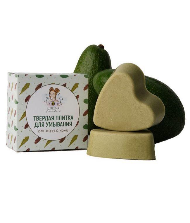 Твердая плитка для умывания для жирной кожи Greena Avocadova